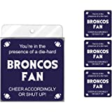 Tree-Free Greetings NC38116 Broncos Football Fan 4-Pack Artful Coaster Set