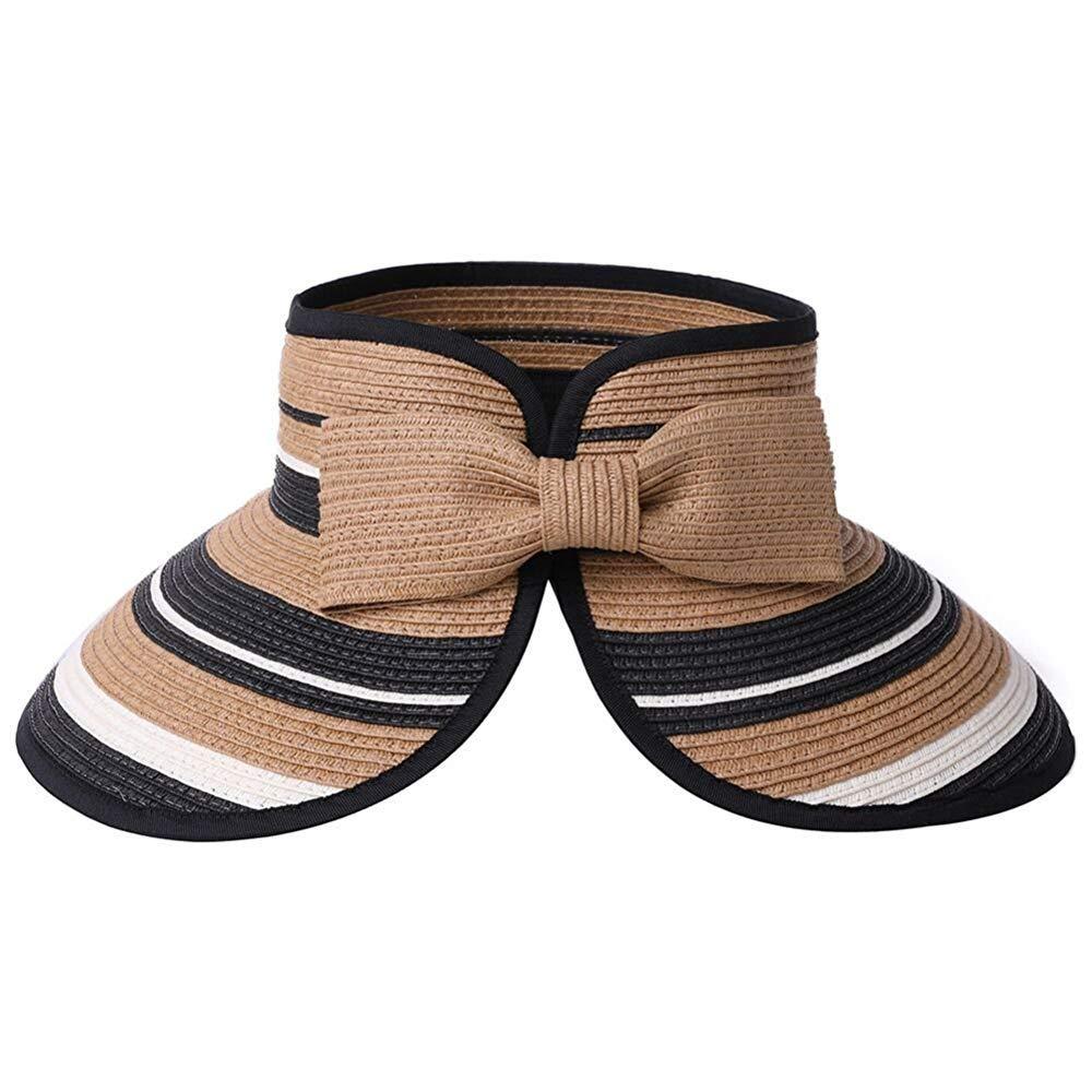 AsDlg Ladies Summer Sun Visor Women Foldable Floppy Wide Brim Travel Hat Roll up Summer Beach Hats UV Predection Stylish (color   Brown)