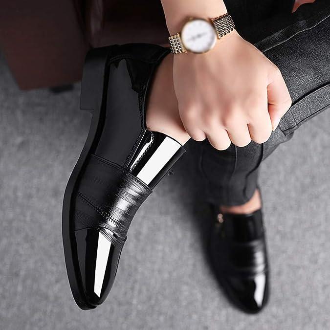Amazon.com | Business Dress Shoes Pointed Head Men Shoes A Pedal Casual Lazy Side Zipper Shoe Black | Shoes