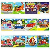 Vileafy 12-In-1 Jigsaw Puzzles for Kids, Wooden Puzzles with Individual Silk Gift Bag for Children's Party Favors …