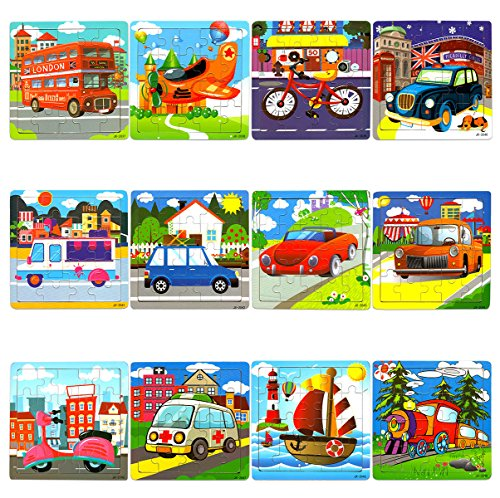 Vileafy 12-In-1 Jigsaw Puzzles for Kids, Wooden Puzzles with Individual Silk Gift Bag for Children's Party Favors … by Vileafy (Image #7)