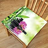 Cheap Nalahome Set of 2 Waterproof Cozy Seat Protector Cushion Spa Decor Orchids and Rocks in the Mineral Rich Spring Water Spiritual Deep Treatment Cure Image Green Black Pink Printing Size 18x18inch