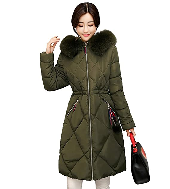 NiSeng Mujer Invierno Acolchado De Pluma Largo Abrigo Encapuchado Acolchado Chaqueta Casual Espesar Abrigos Ejército S