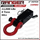 "Ranger 2"" Hitch Receiver with 3/4 Shackle D-Ring Combo Adapter 11,000 lbs 5 tons by Ultranger"
