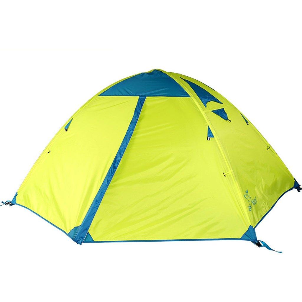 屋外2人テントフィールドキャンプダブルレイヤー防水防風クライミング機器  Lemon green B07P2C88X7