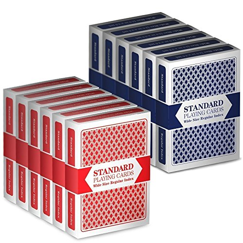 12 Decks (6 Red/6 Blue) Wide-Size, Regular Index Playing Cards Set - Plastic-Coated, Classic Poker Size by Brybelly 3-Pack