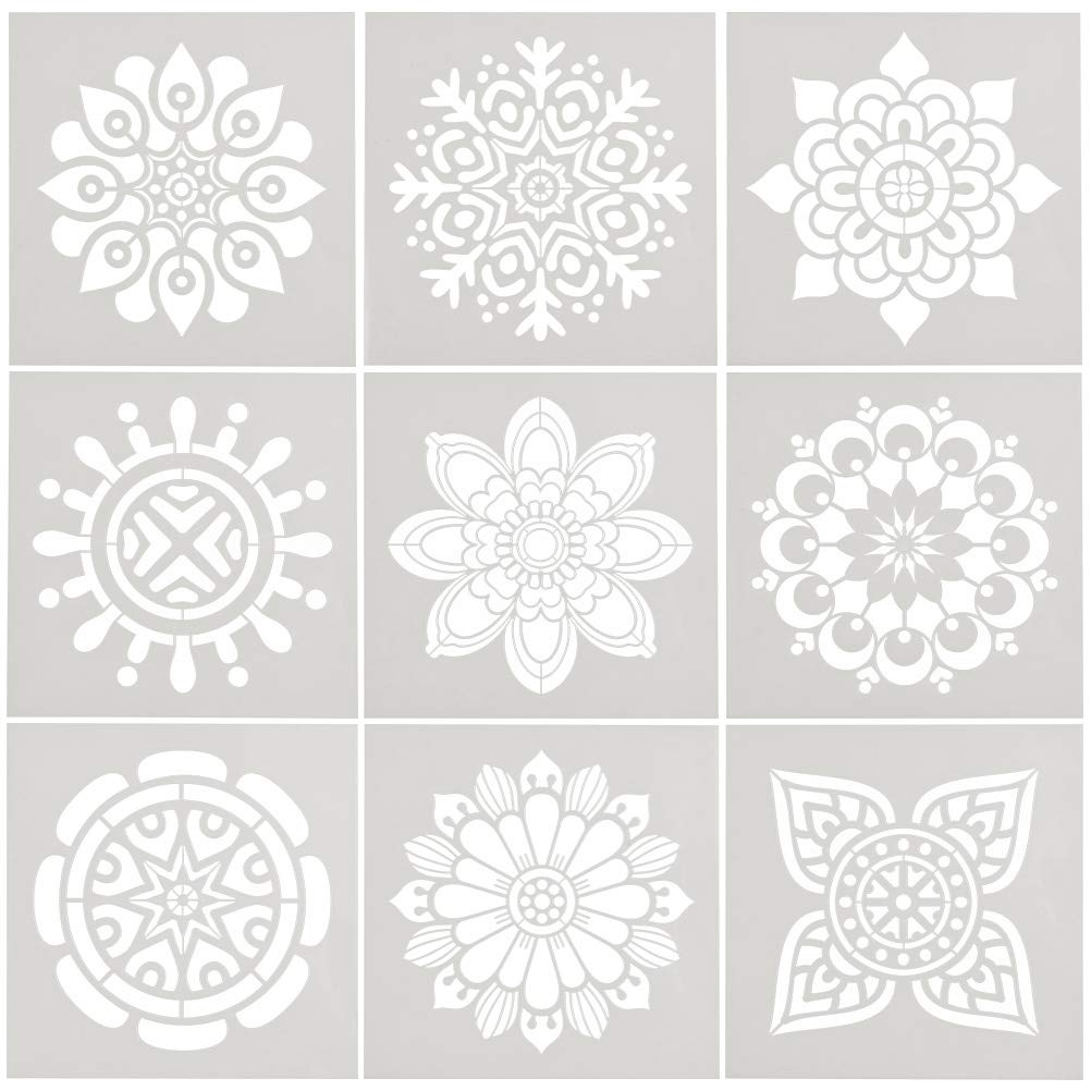 WOWOSS 9 Pcs Mandala Reusable Stencils Set 6x6 inch Painting Stencil Laser Cut Painting Templates for Floor Wall Tile Wood Furniture Fabric