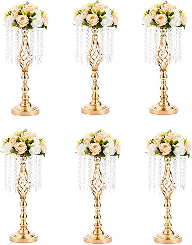 6 Pcs 19.3 inches Tall Crystal Flower Stand Wedding Road Lead Tall Flower Holders Centerpiece Crystal Flower Chandelier Metal Flower Vase