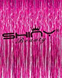 ShinyBeauty 6FTX8FT-Foil Fringe-Curtain-Fuchsia,Metalic Foil Fringe Backdrop,Better for Your Thanksgiving Party Decoration