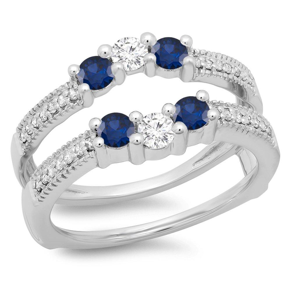 14K White Gold Blue Sapphire & White Diamond Wedding Band 3 Stone Enhancer Guard Double Ring (Size 5.5)
