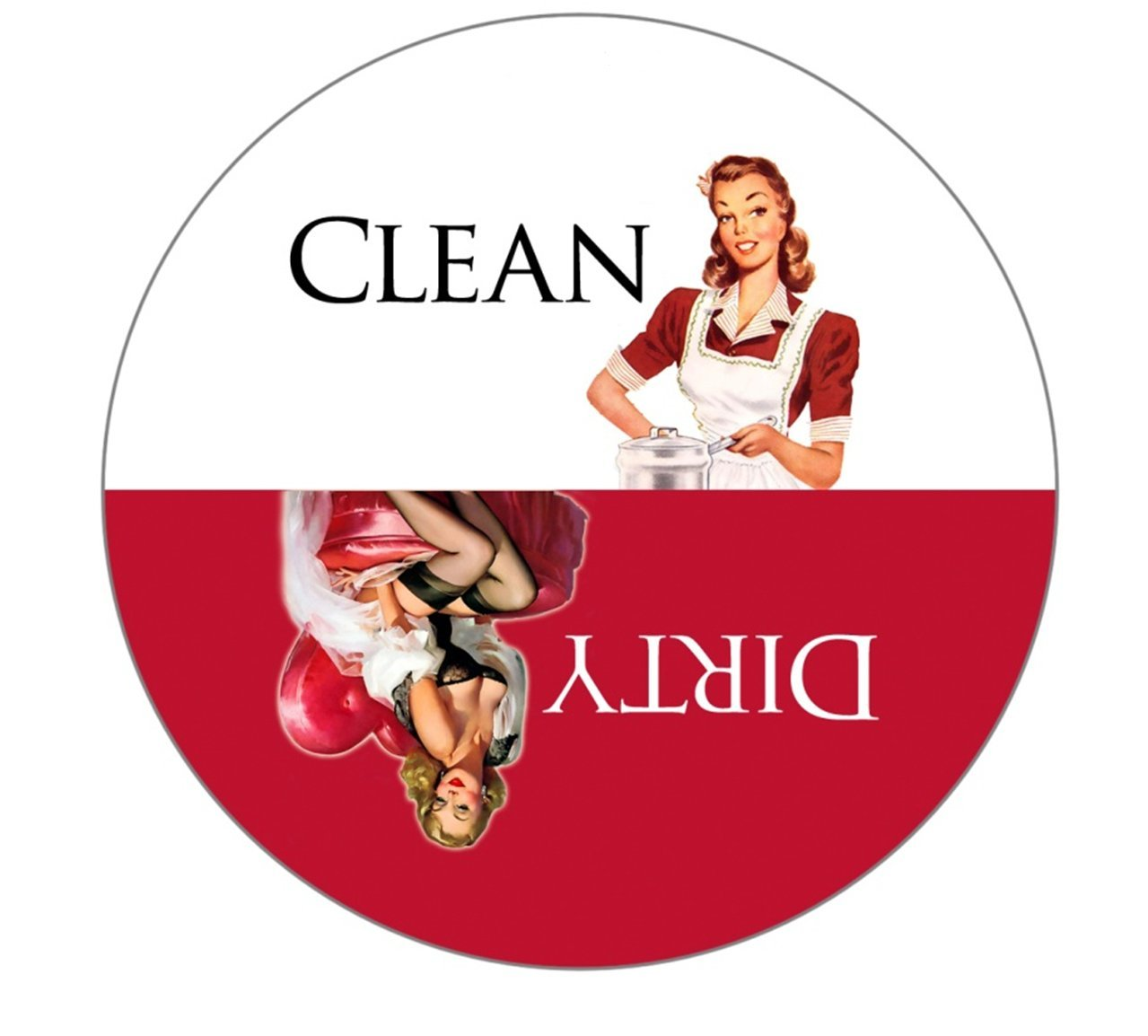 Clean Dirty Dishwasher Magnet Ends Kitchen Problem. Adheres to ANY Surface. Retro Housewife Theme. Red and White.100% Handmade in the USA.