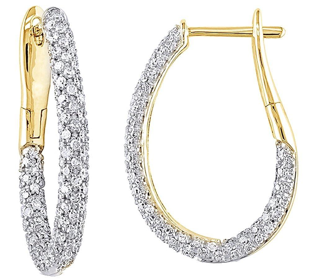 mit natürlichen Diamanten in-out Creolen 14 kt 585, Weißszlig;Gold, (1), cttw 14 Karat (585) GelbGold