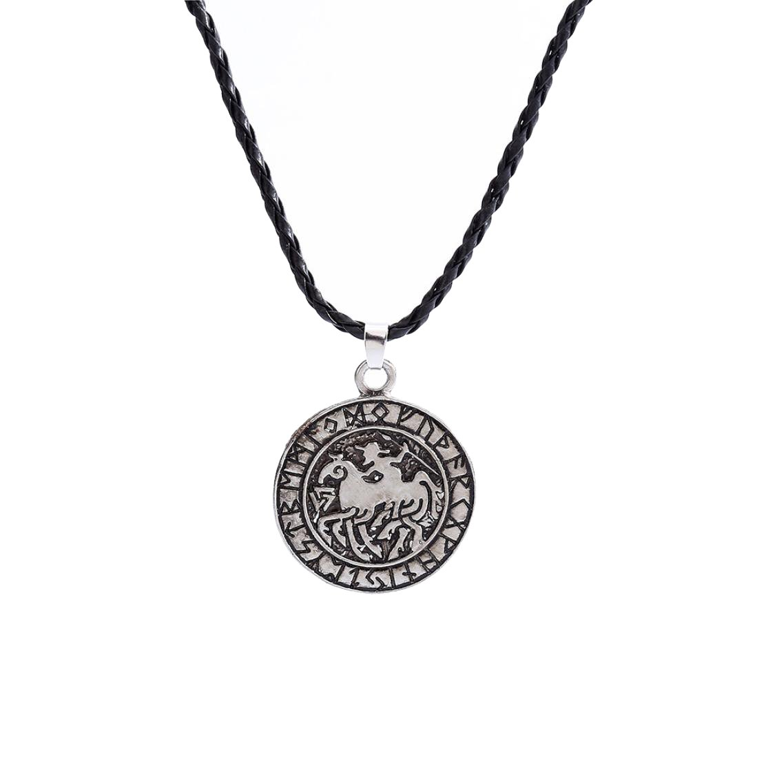 Alixyz Norse Viking Runes Amulet Necklace Pendant Viking And Soldier Talisman (Silver, alloy)
