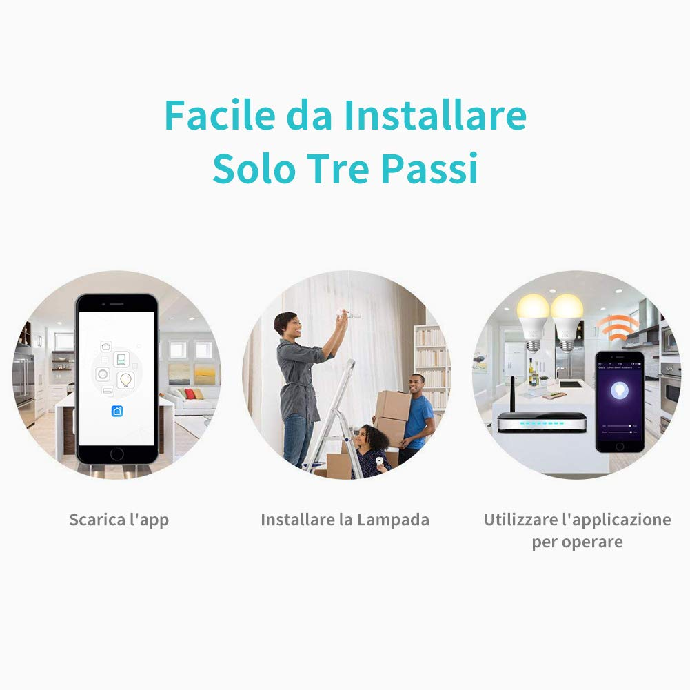 Echo,Echo Dot 2 pack Lampadina Intelligente e Google Assistant AISIRER Lampadina Smart WiFi E27 Dimmerabile 2700K Equivalente 806LM Calda Luce Controllo tramite App funziona con  Alexa