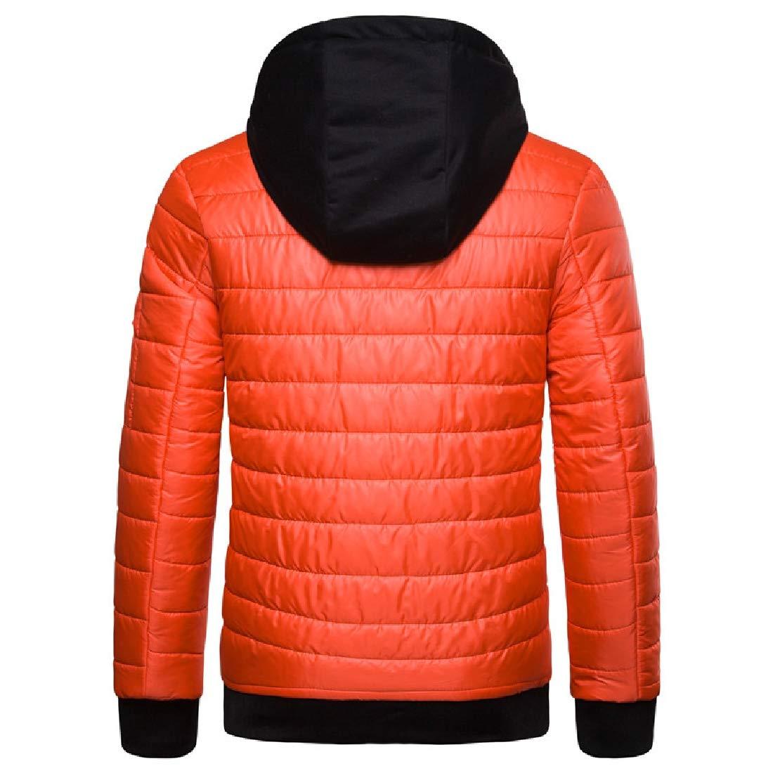 YUNY Mens Ultra Light Weight Slim Fit Hoodie Warm Zip-Up Anorak Jacket Orange M