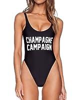 Vanell Women's Letter Print Monokini Bikini High Cut Backless One Piece Swimsuit