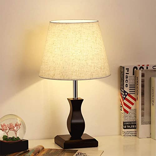 Bedside Table Lamp for Bedroom, Desk Lamps with Neutral Shade Soft, Stylish Black MDF Base Lamps, for Nightstand, Coffee Table, Dressers