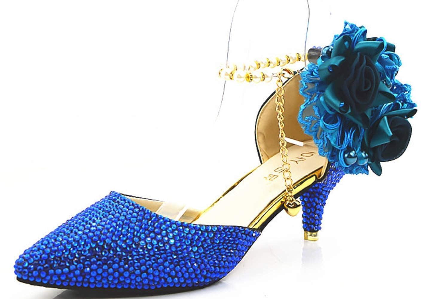 Shiney Damen Wies Blaue Handgefertigte Schuhe Hochzeit High Heel Kristall Sandalen Brautschuhe