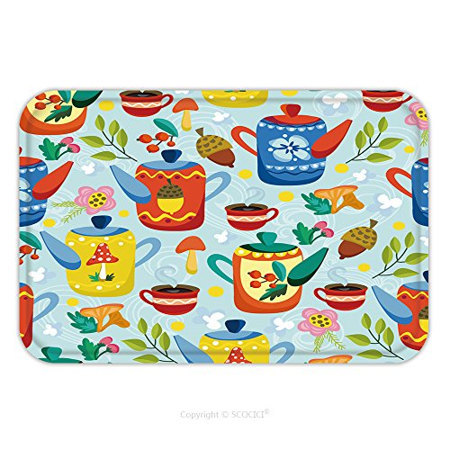 Flannel Microfiber Non-slip Rubber Backing Soft Absorbent Doormat Mat Rug Carpet Cute Vector Seamless Pattern Of Teapots And Tea Cups And Floral Elements Cozy Pattern Tea Time 327495947 for Indoor/Out
