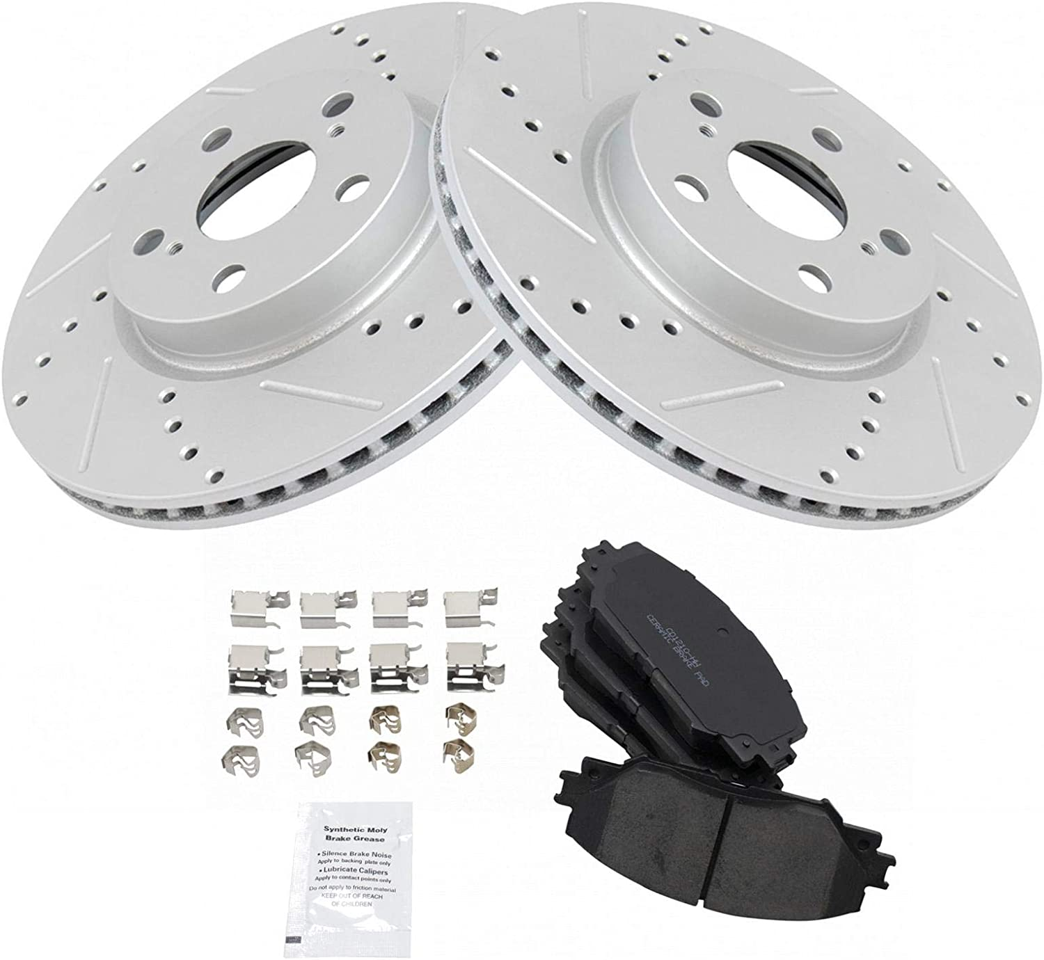 CERAMIC PADS 56737PK POWER DRILLED SLOTTED PLATED BRAKE ROTORS FRONT + REAR