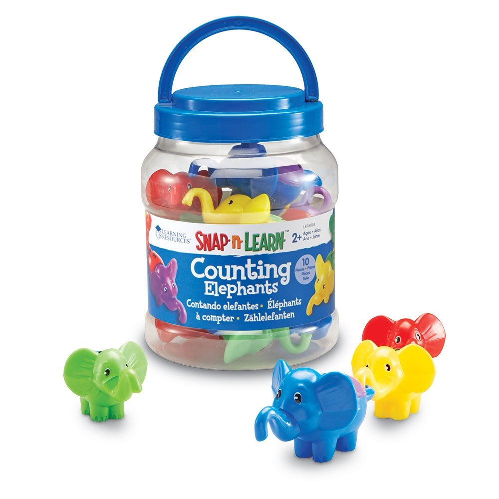 Learning Resources LER6703 Snap-n-Learn Counting Elephants - Set of 10, kindergarten to 3