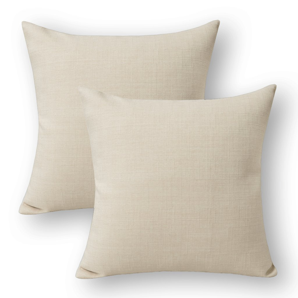Jeanerlor Lined Linen Solid Decorative Pillow Cover/Euro Sham/Cushion Sham Prime, Durable Pillow Cases Chair - 26''x26'' (65 x 65 cm),Light Linen,2 Packs