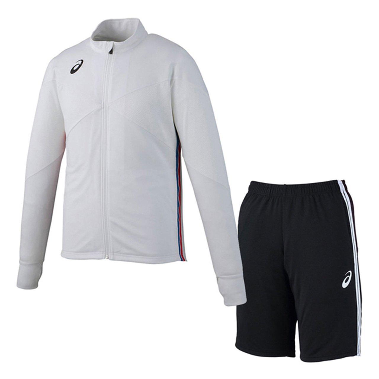 アシックス(asics) トレーニングジャケット&トレーニングハーフパンツ 上下セット(ホワイト/ブラック) XST181-01-XST282-90 B079WTQQRD L|ホワイト/ブラック ホワイト/ブラック L