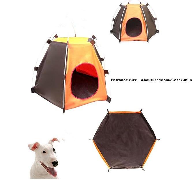 Portátil mascota tienda de campaña al aire libre Protector solar perros casa impermeable plegable mascotas cama para perros pequeños y gatos: Amazon.es: ...
