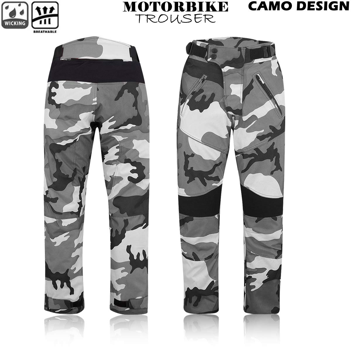 Motorbike Cordura Textile Waterproof Trousers Motorcycle Camouflage Trouser Long Pants Armoured BLUE CAMO, 34