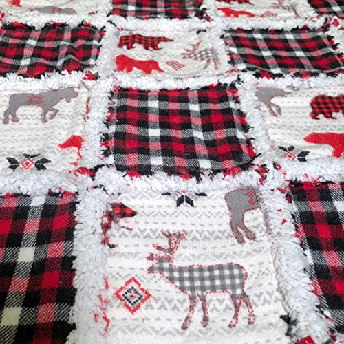 Woodland adventure baby flannel rag quilt in red grey white black tummy time mat