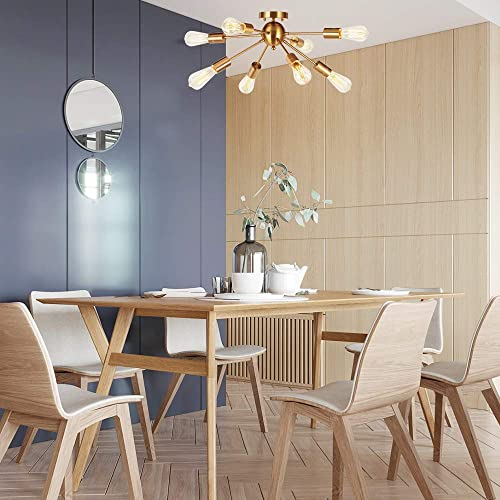 VINLUZ 8-Light Sputnik Chandelier Brushed Brass Semi Flush Mount Ceiling Light Modern Pendant Light for Kitchen Bathroom Dining Room Bed Room Hallway