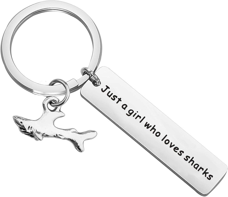AKTAP Shark Lover Gift Shark Keychain Just A Girl Who Loves Sharks Gift for Shark Girl Shark Stuff Diver Gifts