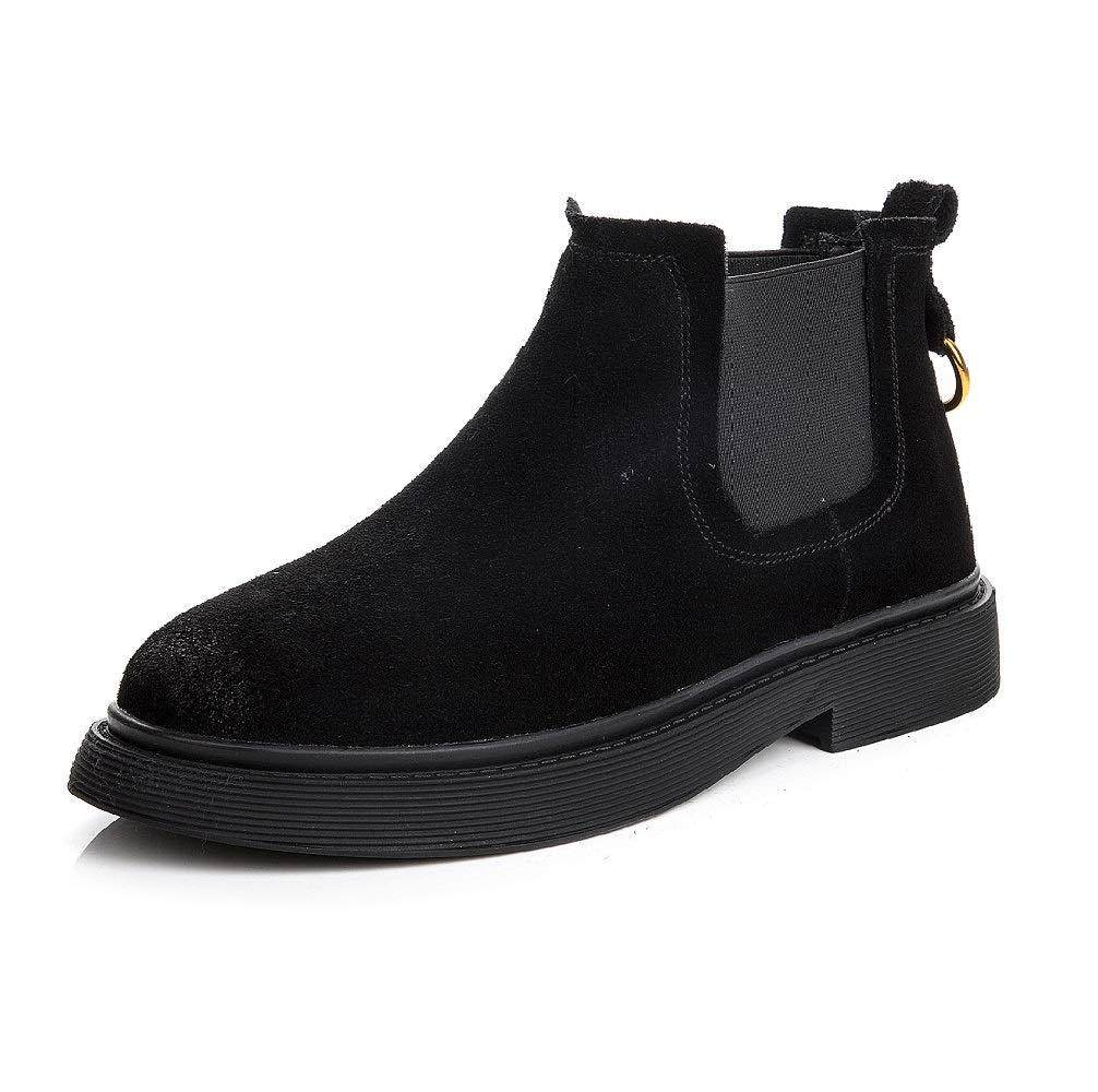 SHANGWU damen Chelsea Ankle Stiefel LAUFSTUHL Echtes Leder Wildleder Flache Ferse Abgerundete Zehe Schule Arbeit Reiten Elastische Schuhe Größe