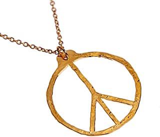 """product image for Hand Hammered Delicate Peace Symbol Gold-dipped Pendant Necklace on 18"""" Rolo Chain"""