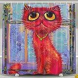 BINGO FLAG Funny Fabric Shower Curtain Huge Cat's Window Waterproof Bathroom Decor With Hooks 60 X 72 Inch