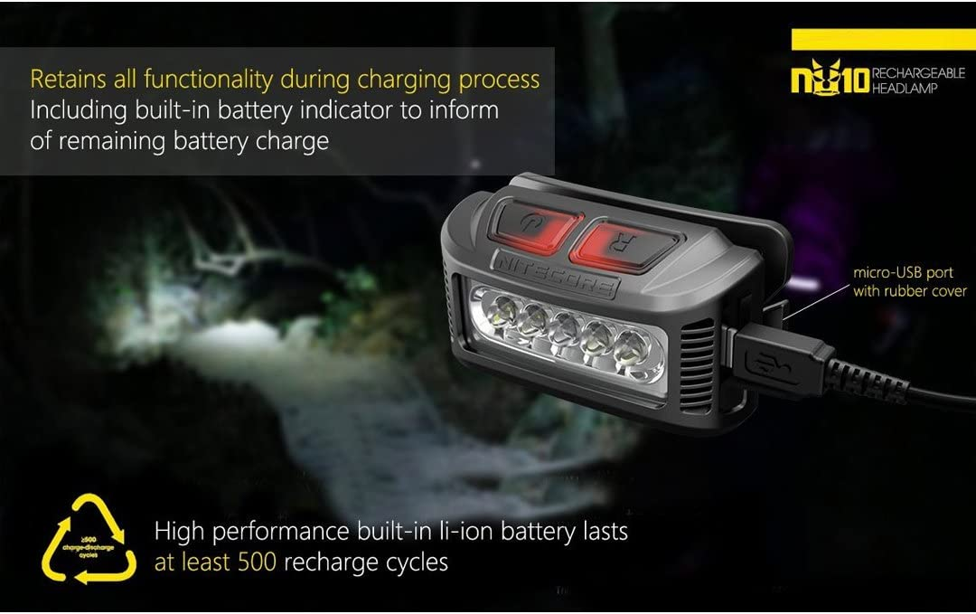 Wei/ßlicht Rotlicht kompakte Stirnlampe /über USB ladbar Nitecore NU10 rot