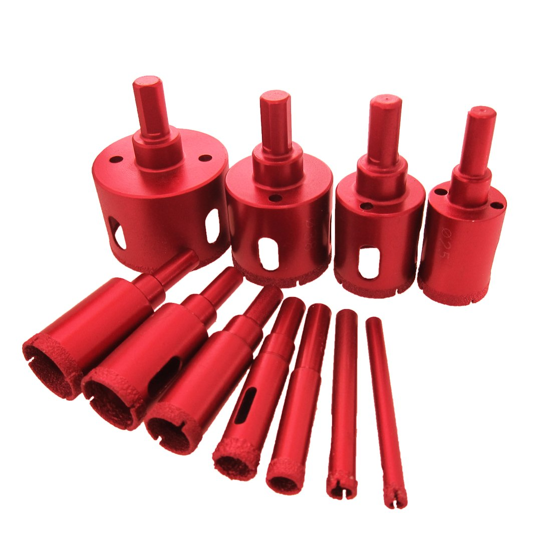 Meccion Diamond Drill Bit Kit Brazed Heavy Duty Hole Saw Set Extractor Remover Tools Hole Saws For Glass, Ceramics, Porcelain, Ceramic Tile,Stone Mandrels Saws 6/25 inch - 2 inch 11 Packs by Meccion