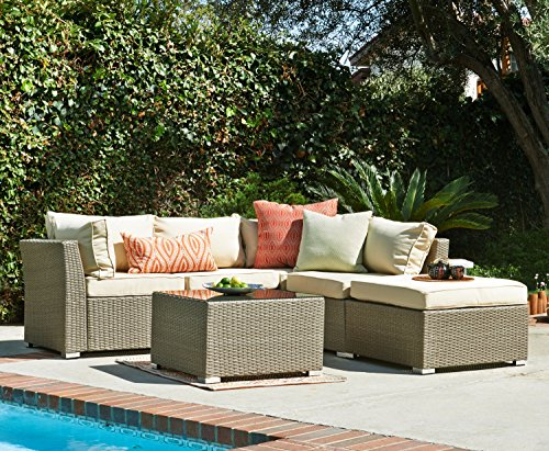 Carabelle Outdoor Wicker Patio 5 Piece Sectional Sofa Set...