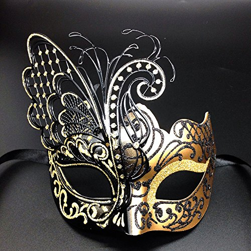 [Flying Butterfly] Gold/Black Face with [Sparkling Wing] Laser Cut Metal Venetian Women Mask For Masquerade / Party / Ball Prom / Mardi Gras / Wedding / Wall (Masquerade Masks Gold)