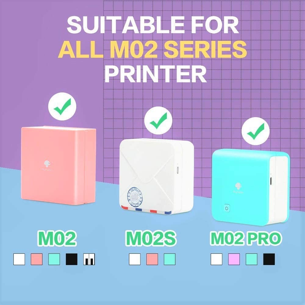 for Phomemo M02//M02 Pro//M02S Mini Bluetooth Thermal Pocket Printer Phomemo Adhesive Thermal Sticker Paper 3 Roll 3.5m Length 50mm-53mm Width White//Transparent//Semi-transparent Thermal Printer