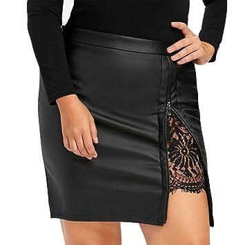 af9256ee2144 Btruely Rock Femme Retro Ligne A Röck de grande taille jupe midi élégante  Rock Filles PU