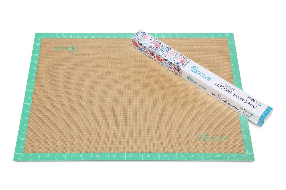Jumbo Silicone Mat | Thick & Extra Large (36'' x 24'') | Non-Stick Professional Grade Silicon Perfect for Rolling Dough - Pastries - Fondant - Craft Surface | BPA Free & FDA Approved | In TEAL by Harlue