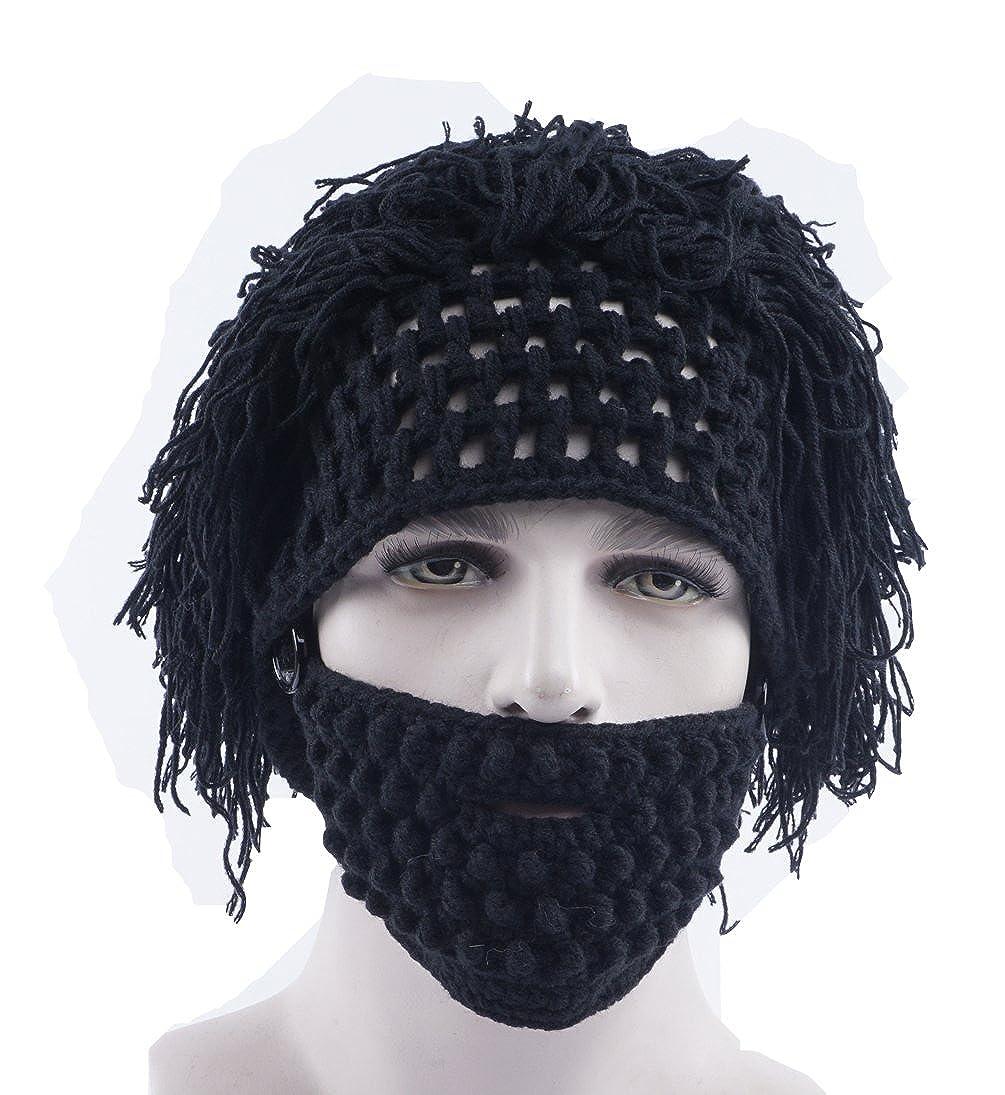 bf0a3cf99d9 Amazon.com  Dreamsoar Womens Men Women Handmade Knit Wig Bearded Hats Mad  Scientist Rasta Caveman Winter Warm Ski Mask Beanie BK  Clothing