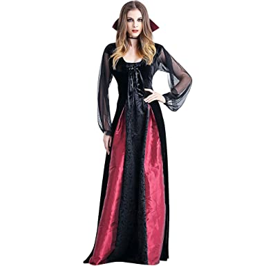 Disfraz Halloween Mujer Vampiresa Fiesta - Traje Bruja Adulto Vestido Negro Condesa Carnaval Gotico Cosplay Reina Disfraces