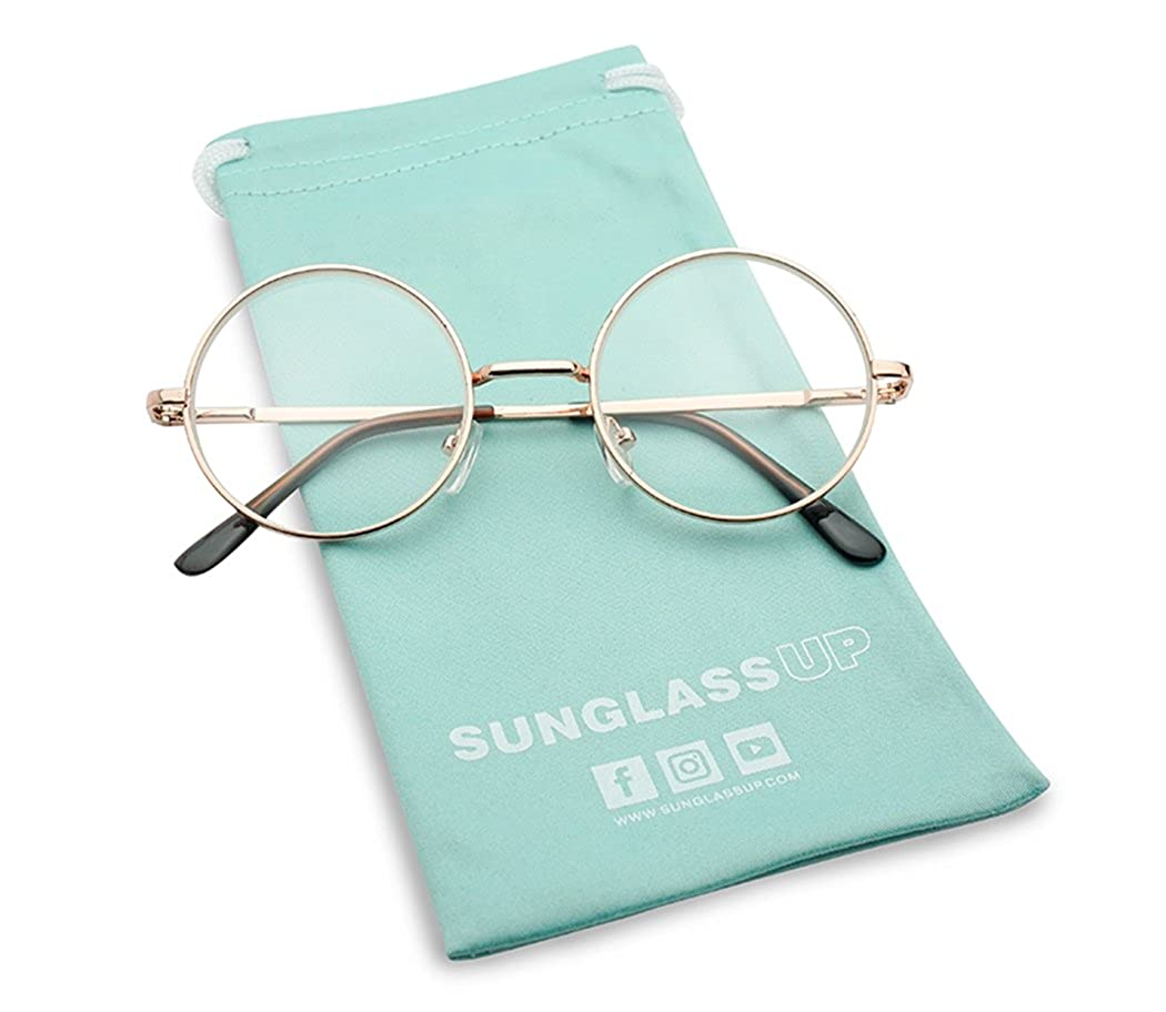 Sunglass Stop - Small Round Vintage Metal John Lennon Clear Lens Eye Glasses Clear Lens)