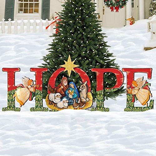 - Christmas Nativity HOPE Yard Lawn Scene, Holiday Wooden Outdoor Decoration 8121461F
