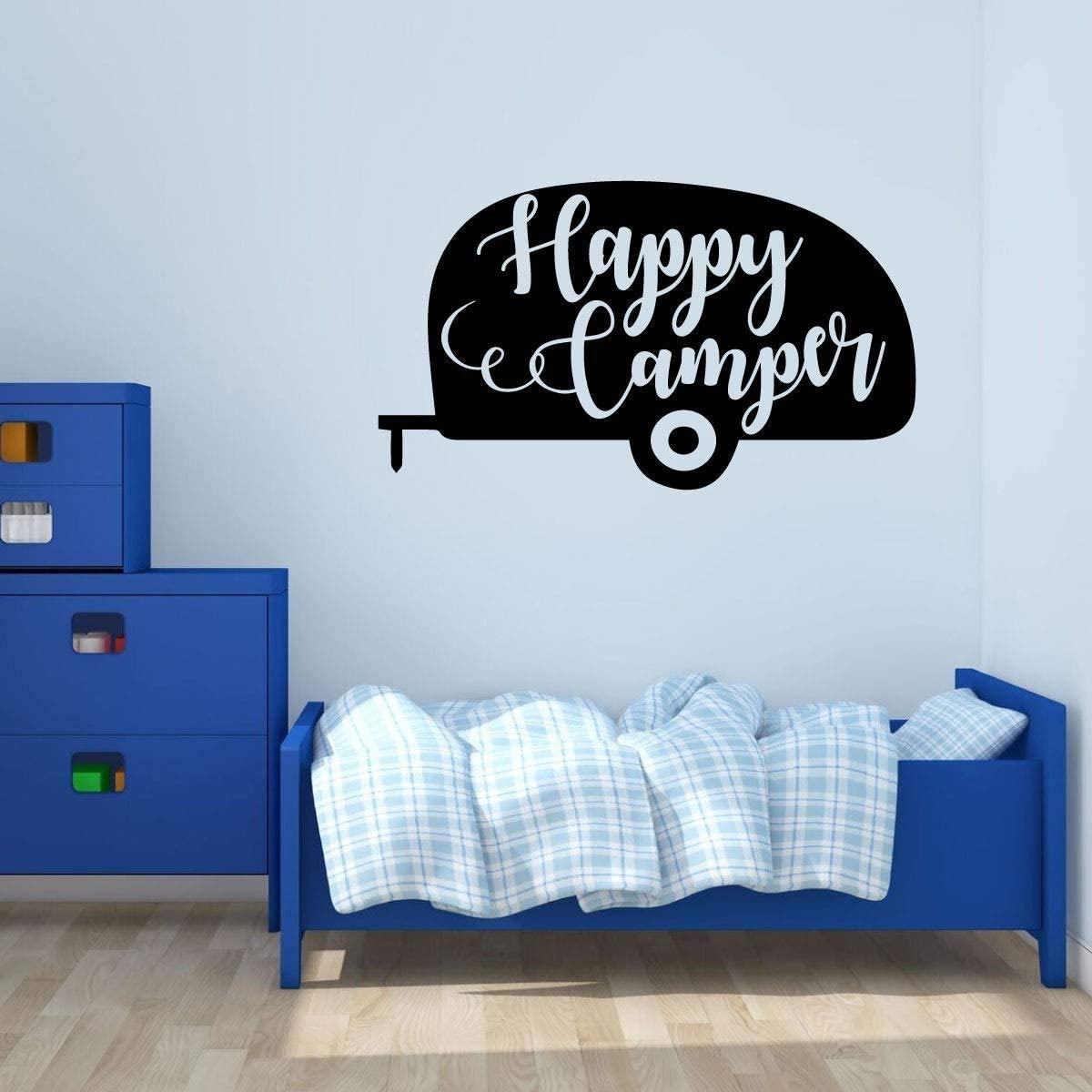 Happy Camper Vinyl Decal - Outdoor and Nature Themed Wall Sticker for Cabins, Cottages, Summer Camps, Home D|cor | Camper Silhouette 15.7