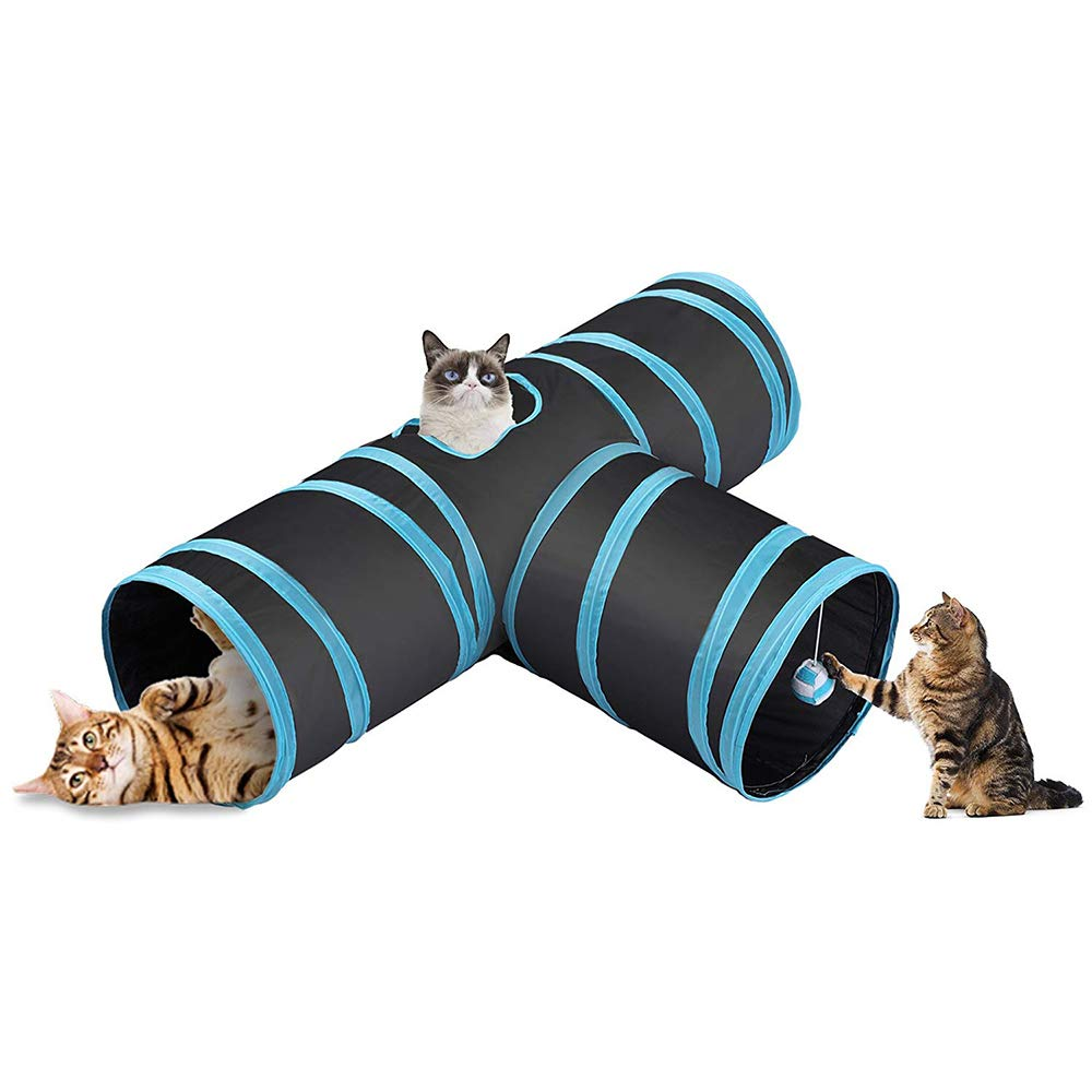 Cat Tunnel Pet Tube Peek Hole Toy Collapsible Get Rid of Bored Toys 3 Connected Run Road Way Fun for Rabbits Kittens Puppy and Dogs Black bluee