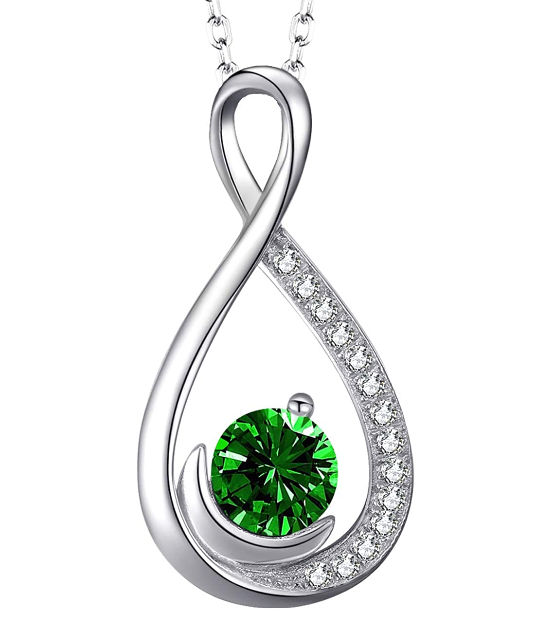 Amazon Endless Love Infinity And Moon Necklace Sterling Silver Jewelry Gifts For Women Green Emerald Swarovski Anniversary Birthday