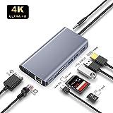 9in1 mac USB C ハブ 4K HDMI出力ポートVGAコンバーターポート USB3.0ポート5Gbps高速伝送 Type-C PD充電ポート 87W急速充電 3.5mmオーディオポート TF/SDカードリーダー LANポート—Mreechan 高画質 HUB互換性 安定性抜群 コンパクト タイプcアダプタ